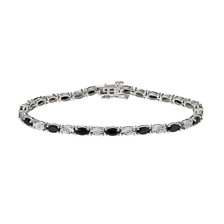 Sterling Silver Diamond & Sapphire bracelet - Product number 9921486