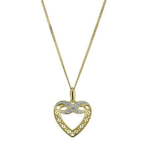9ct Yellow Gold Diamond Heart & Kiss Pendant Necklace - Product number 9921516