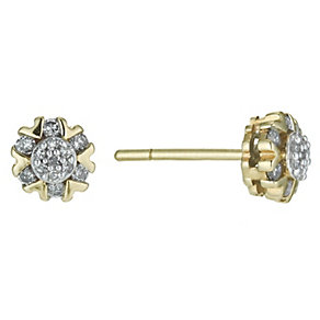 9ct Yellow Gold 14 Point Diamond Earrings - Product number 9921567