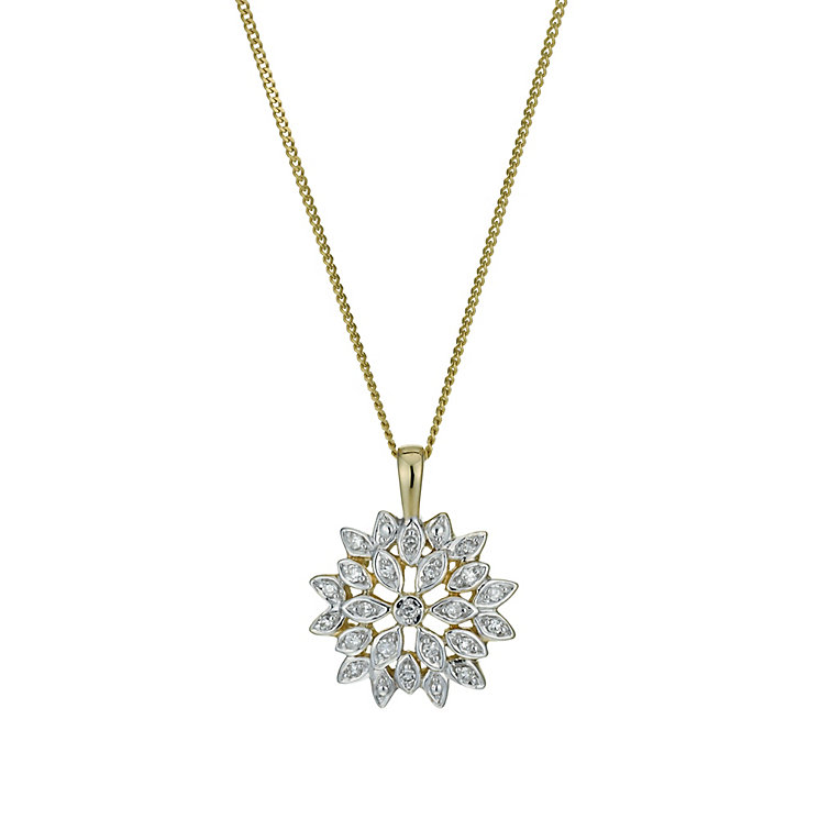 9ct Yellow Gold 1/10 Carat Diamond Flower Pendant Necklace - Product number 9921605