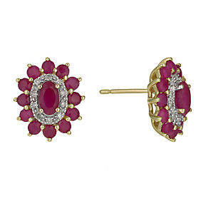 9ct Yellow Gold Ruby & Diamond Stud Earrings - Product number 9921621
