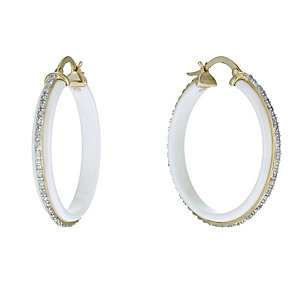 White Ceramic & 9ct Yellow Gold 1/10 Carat Diamond Earrings - Product number 9921648