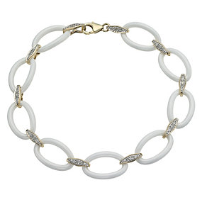 White Ceramic & 9ct Yellow Gold 15 Point Diamond Bracelet - Product number 9921664
