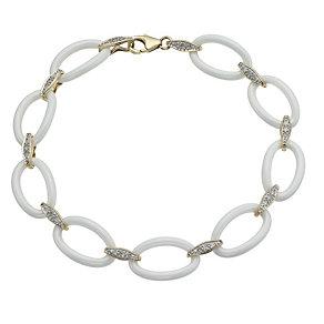 White Ceramic & 9ct Yellow Gold 15 Point Diamond Bracelet - Product number 9921664