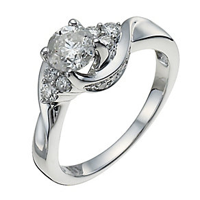18ct White Gold One Carat Diamond Solitaire Ring - Product number 9921931
