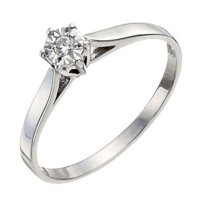 9ct White Gold Illusion Set Diamond Solitaire Ring HSamuel