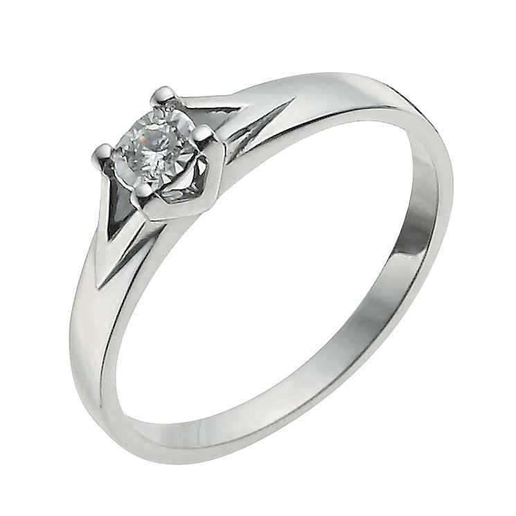 9ct white gold illusion solitaire ring h samuel