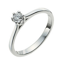 9ct White Gold Quarter Carat Diamond Solitaire Ring - Product number 9923136