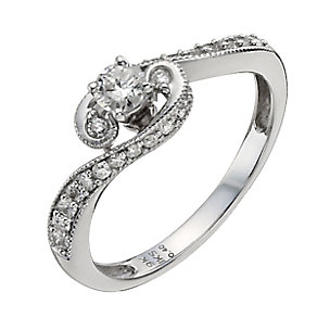 9ct White Gold 40pt Diamond Solitaire Ring - Product number 9923381