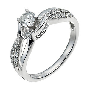 9ct White Gold Half Carat Diamond Solitaire Ring - Product number 9923926