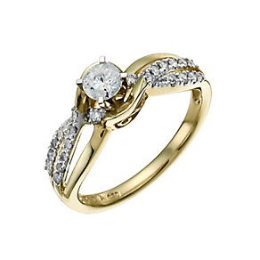 9ct Yellow & White Gold 1/2 Carat Diamond Solitaire Ring - Product number 9924442