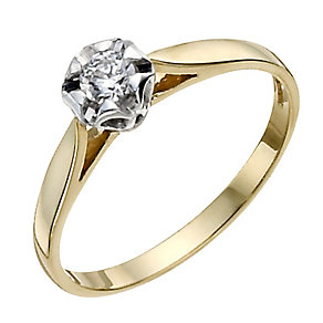 9ct Yellow Gold 10pt Diamond Flower Solitaire Ring - Product number 9924574
