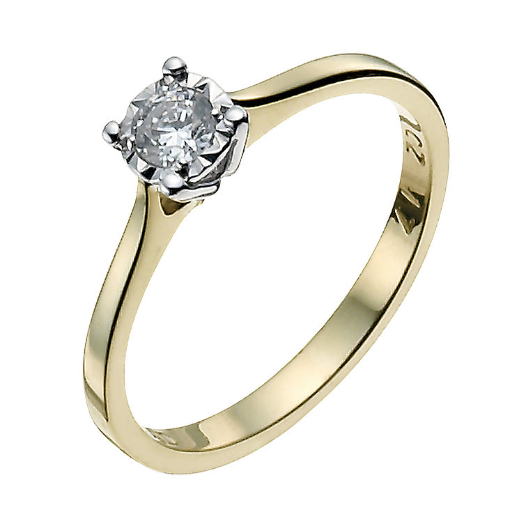 9ct Yellow & White Gold 1/6 Carat Diamond Solitaire Ring - Product number 9924833
