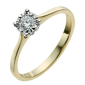 9ct Yellow & White Gold 1/5 Carat Illusion Diamond Ring - Product number 9924965