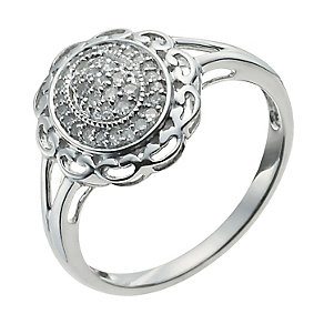 9ct White Gold One Sixth Carat Diamond Flower Cluster Ring - Product number 9926380