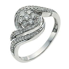 9ct White Gold Half Carat Diamond Cluster Ring - Product number 9926658