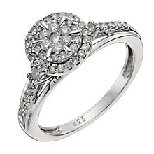 9ct White Gold 40pt Diamond Round Cluster Ring - Product number 9926771
