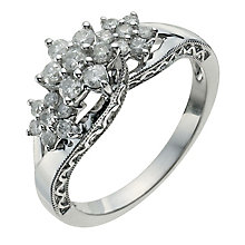 9ct White Gold Half Carat Diamond Three Flower Cluster Ring - Product number 9926917