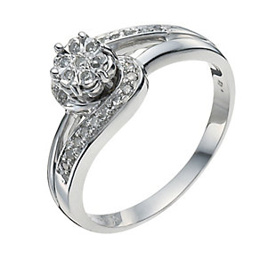 Sterling silver 12 point diamond cluster ring - Product number 9927050