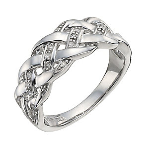 Sterling Silver Diamond Twist Eternity Ring - Product number 9927573
