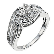 Sterling Silver Three Stone Diamond Ring - Product number 9927719