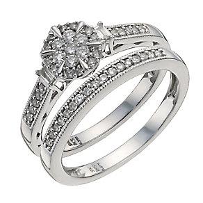 9ct White Gold 1/3 Carat Diamond Cluster Bridal Set - Product number 9928650