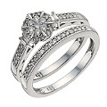 9ct White Gold 1/3 Carat Diamond Cluster Bridal Set - Product number 9928650