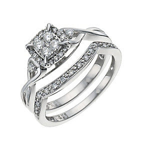 9ct White Gold 1/3 Carat Diamond Bridal Set - Product number 9928782