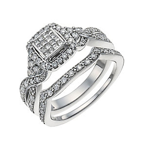 9ct White Gold 2/3 Carat Diamond Bridal Set - Product number 9929452