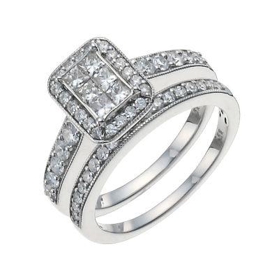 9ct White Gold 1 Carat Diamond Bridal Set HSamuel
