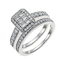 9ct White Gold 1 Carat Diamond Bridal Set - Product number 9929584