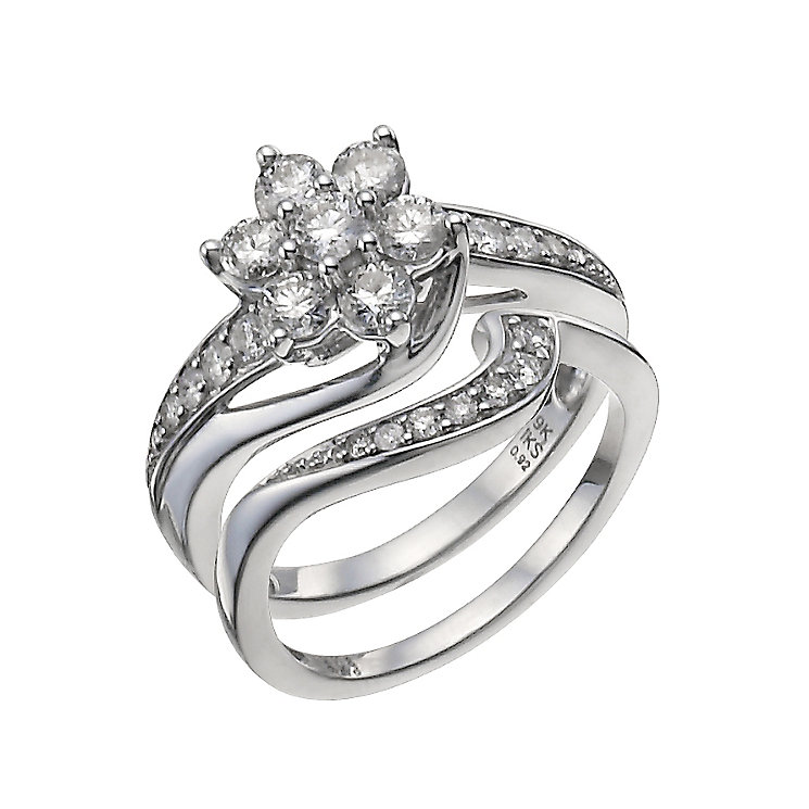 9ct White Gold 1 Carat Diamond Daisy Bridal Set - Product number 9929711