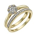9ct Yellow Gold 1/4 Carat Diamond Cluster Bridal Set - Product number 9929843