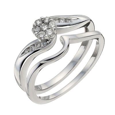 Argentium Silver 14 Carat Diamond Bridal Set HSamuel