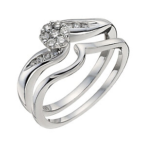 Argentium Silver 1/4 Carat Diamond Bridal Set - Product number 9930108