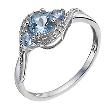 9ct White Gold Aquamarine & Diamond Ring - Product number 9931694