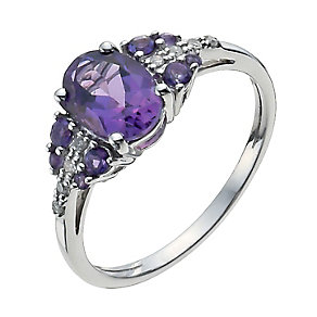 9ct White Gold Diamond & Amethyst Ring - Product number 9931945