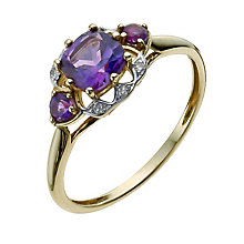 9ct Yellow Gold Diamond & Amethyst Ring - Product number 9932461