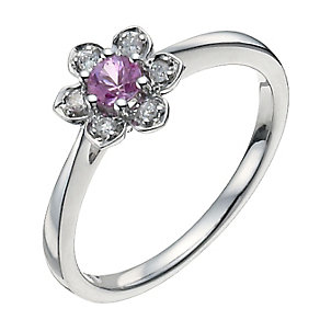 Sterling Silver Diamond & Pink Sapphire Flower Ring - Product number 9933808