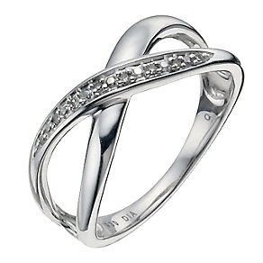 Argentium Silver Diamond Kiss Ring - Product number 9933921