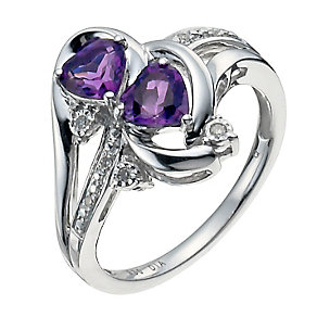 Candy Hearts Argentium Silver Diamond & Amethyst Ring - Product number 9934057