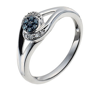 Sterling Silver 10 Point White & Treated Blue Diamond Ring - Product number 9934847