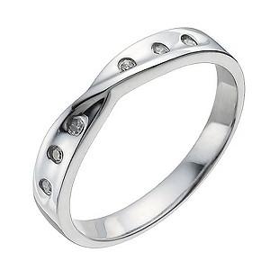9ct White Gold Diamond Crossover Band Ring Ernest Jones