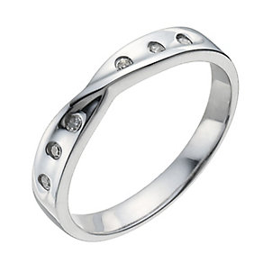 9ct white gold diamond crossover band ring - Product number 9944125