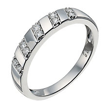 9ct white gold five row 12 point diamond ring - Product number 9944524