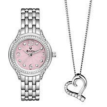 Bulova Ladies' Pink Dial Bracelet Watch & Heart Pendant - Product number 9944788