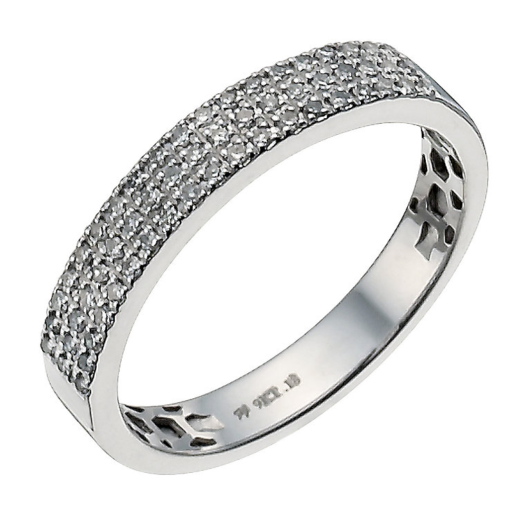 9ct white gold 18 point diamond three row micro pave ring - Product number 9945334