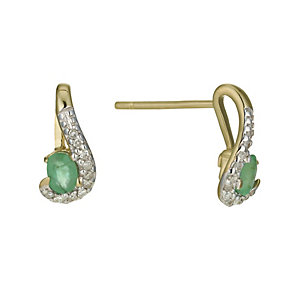 9ct Yellow Gold Diamond & Emerald Earrings - Product number 9945571