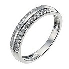 9ct white gold two row quarter carat diamond ring - Product number 9946683