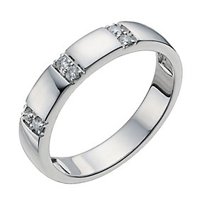 18ct white gold three row diamond band ring - Product number 9947345